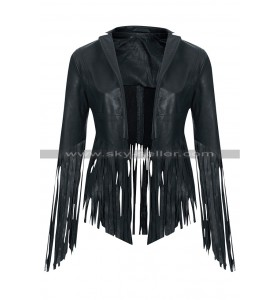 Crazy Stupid Love Cheryl Cole Fringe Leather Jacket