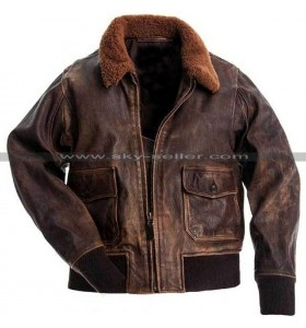G1 Fur Collar Air Force Aviator Men Distressed Genuine Leather Jacket