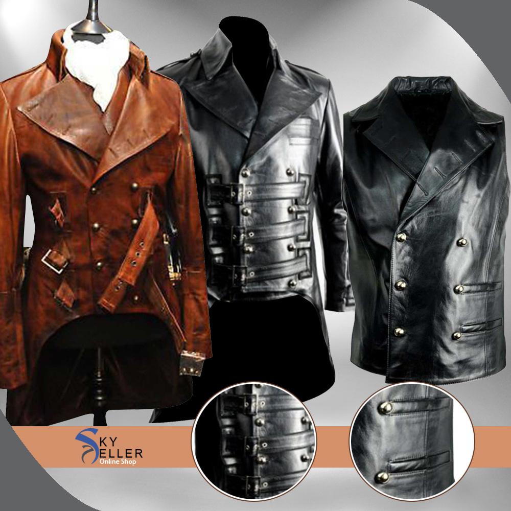 Mens Brown Leather Military Vinatge Steampunk Jacket