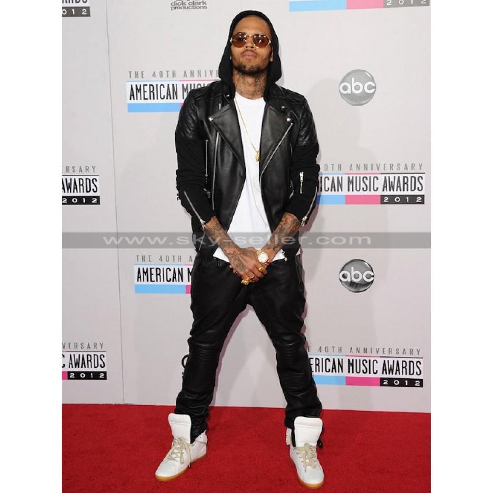 Chris Brown Black Leather Pants