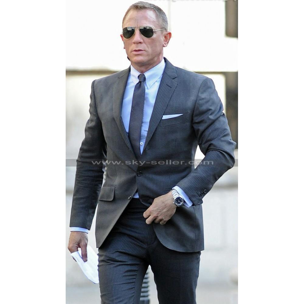 James Bond Skyfall Charcoal Pin Stripes Suit