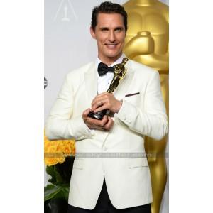 Matthew McConaughey Ivory White Tuxedo Suit