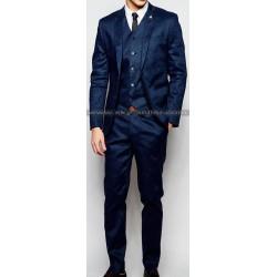 Men's Skinny Fit Navy Linen Blend Suit