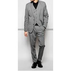 Notch Lapel Men's Mid Grey Suit with Stretch
