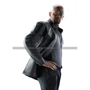 Avengers Age of Ultron Nick Fury Black Leather Jacket