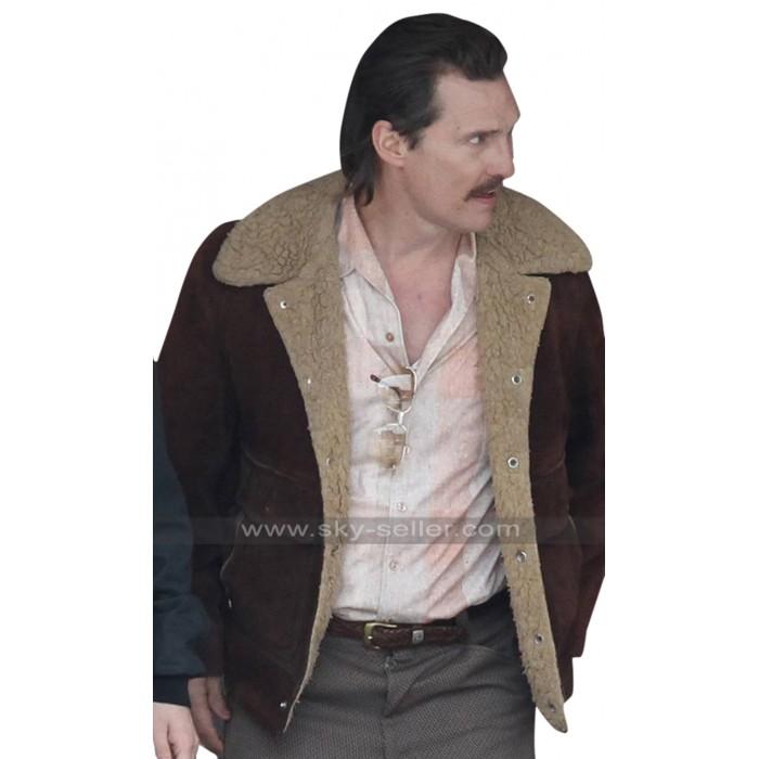 White Boy Rick Matthew McConaughey Fur Collar Maroon Suede Leather Jacket