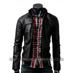 Mens Slim Fit Button Pocket Black Rider Jacket