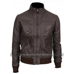 Slim Fit Dark Brown Multi Pockets Bomber Leather Jacket