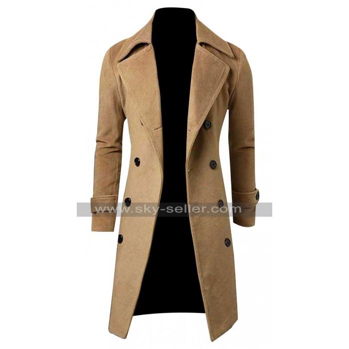Slim Fit Men Winter Casual Peacoat Style Long Coat