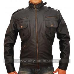 Zipper Pocket Slim Fit Mens Rider Leather Jacket