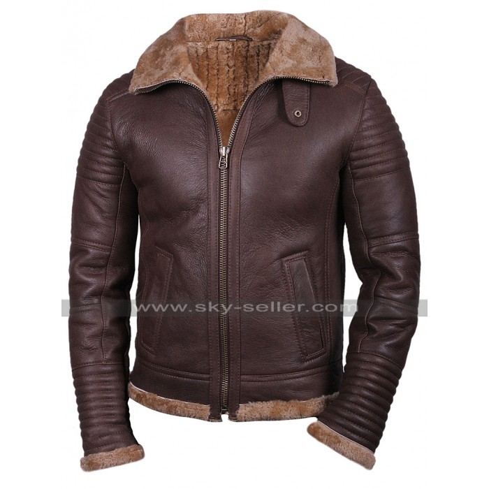 Mens RAF B3 Aviator Pilot Bomber Flight Fur Shearling Brown Leather Jacket