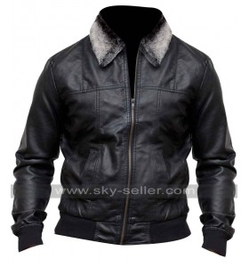Pointed Fur Collar Mens Black Bomber Jacket