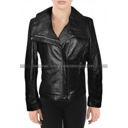 Alessandra Ambrosio Victoria's Secret Black Leather Jacket