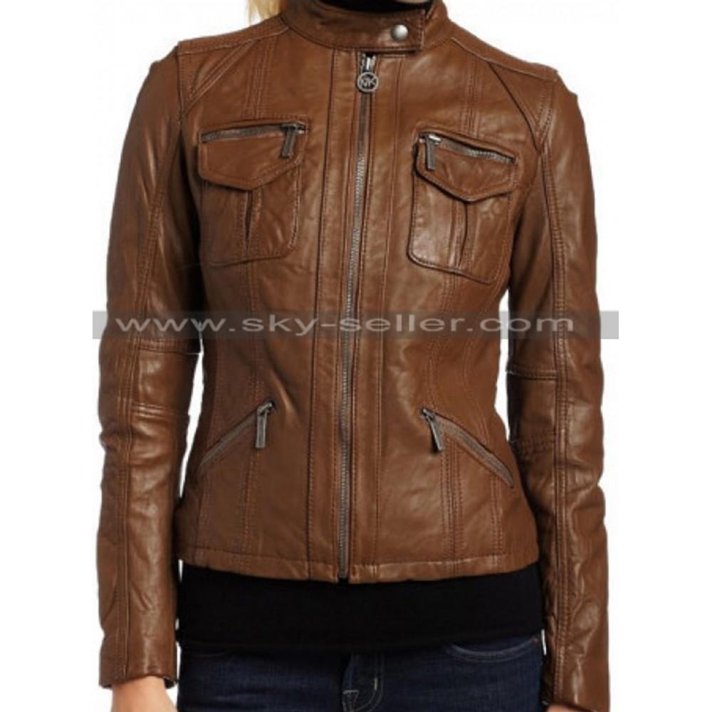 Women's Dark Brown Zipper Slim Fit Leather Jacket