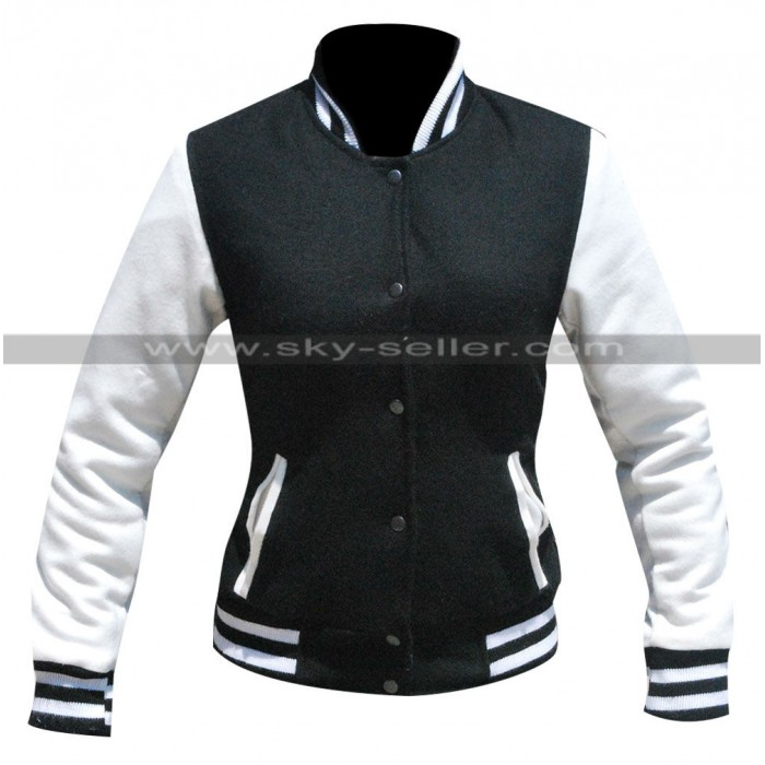 Kim Kardashian Simone Varsity Bomber Jacket in Black/White