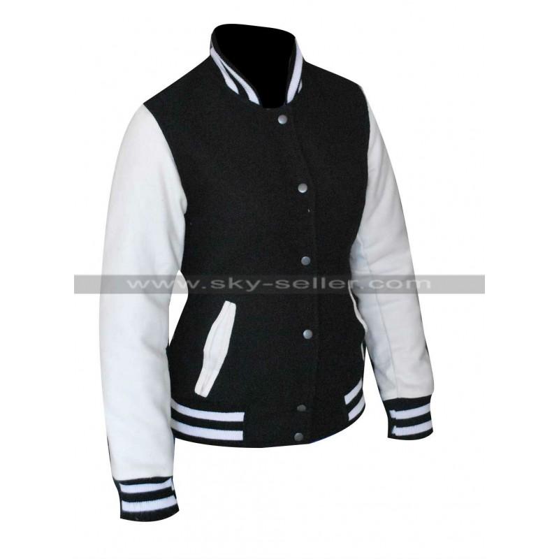 Kardashian Simone Varsity Bomber Jacket in Black/White