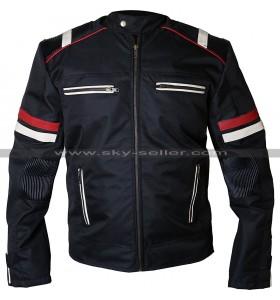 Men Biker Vintage Cafe Racer Retro Cordura Black Motorcycle Jacket