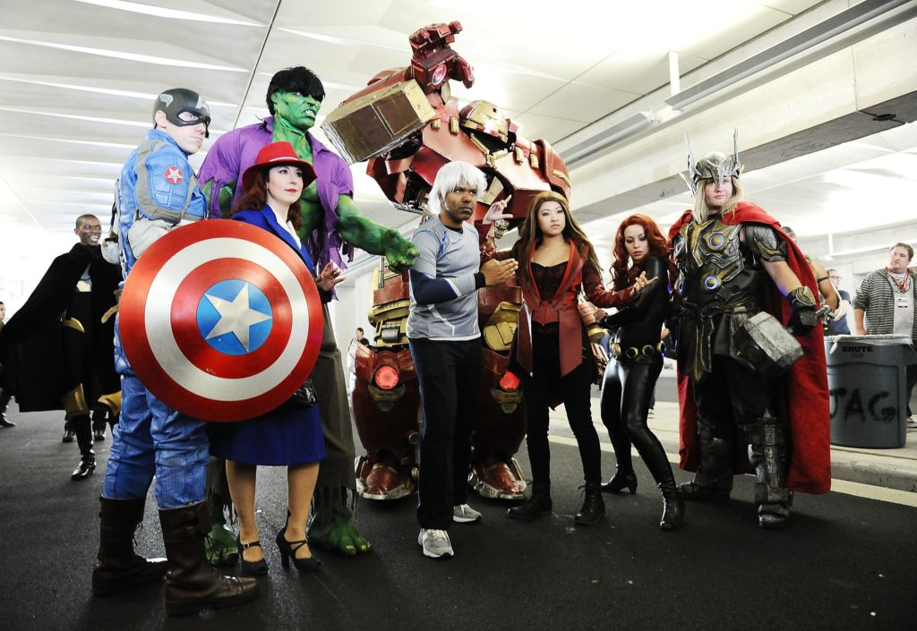 NEW YORK, NY - OCTOBER 09: Comic Con attendees pose as the Avengers during New York Comic-Con 2015 at The Jacob K. Javits Convention Center on October 9, 2015 in New York City. (Photo by Daniel Zuchnik/Getty Images)