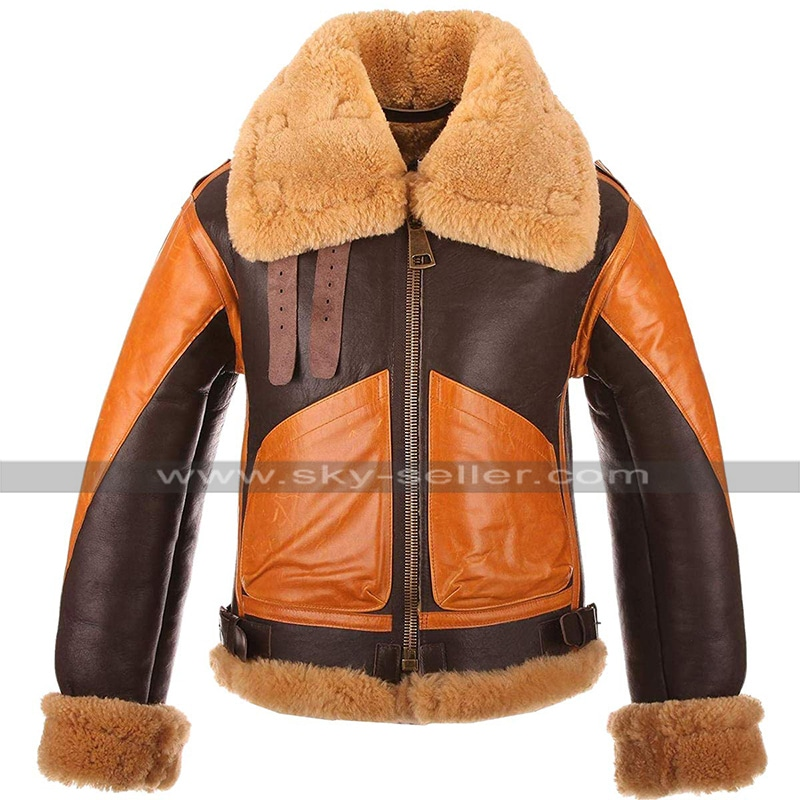 B3_Aviator_Brown_Fur_Shearling_Orange_Jacket