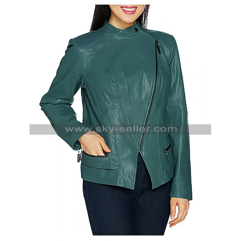 Womens_Unique_Biker_Green_Leather_Jacket_Skyseller