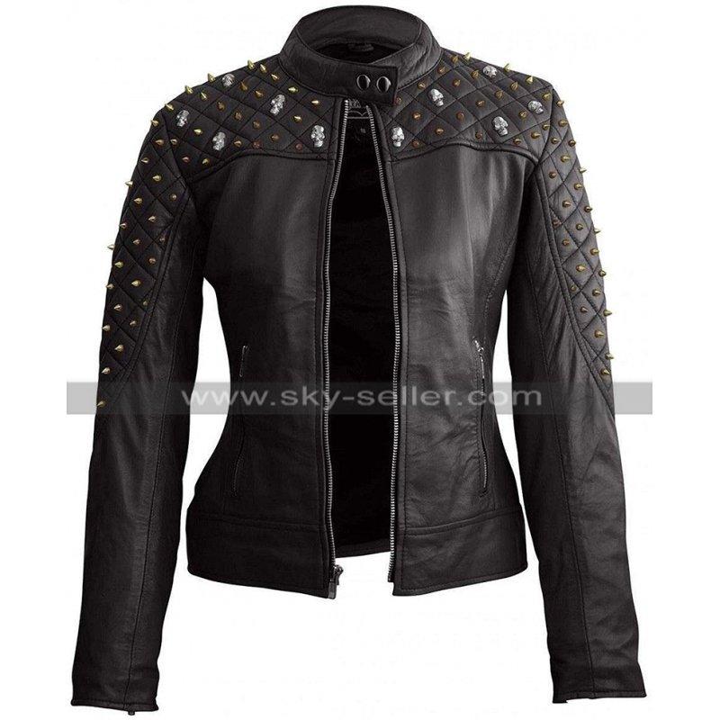 Womens_Skull_Logo_Studded_Motorcycle_Leather_Jacket_Skyseller