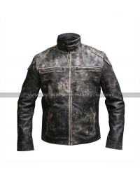 Vintage Biker Antique Style Distressed Black Leather jacket