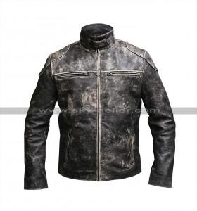 Vintage Biker Antique Style Distressed Black Leather jacket