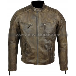 Slim Fit Men's Antique Washed Brown Cafe Racer Biker Jacket