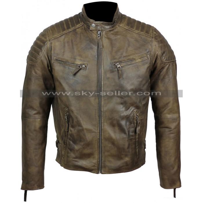 Slim Fit Men's Antique Washed Brown Cafe Racer Biker Jacket