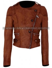 Ashley Benson Asymmetrical Biker Brown Leather Jacket
