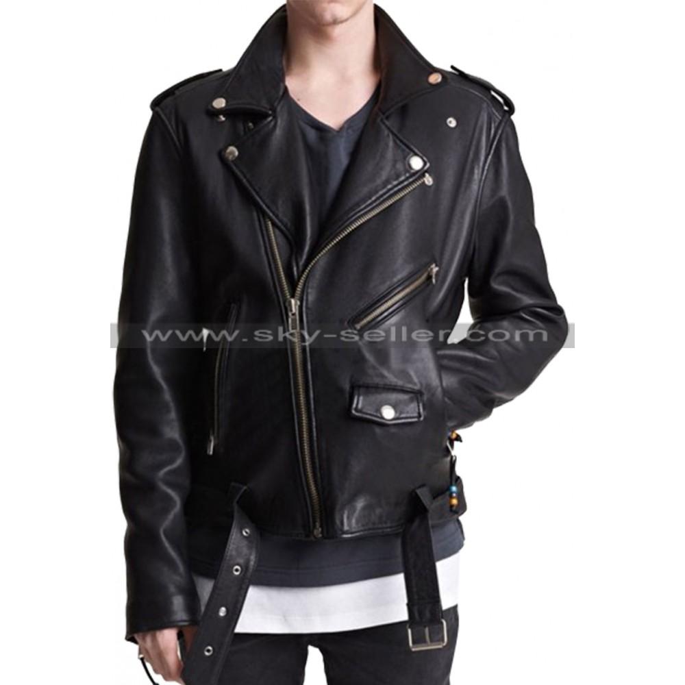 Asymmetrical Zipper Men's Belted Biker Leather Jacket