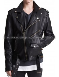 Asymmetrical Zipper Men's Belted Biker Leather Jacket