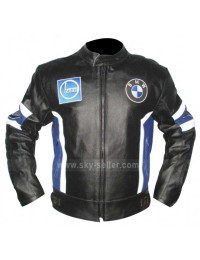 BMW Stripes Blue & Black Motorcycle Leather Jacket