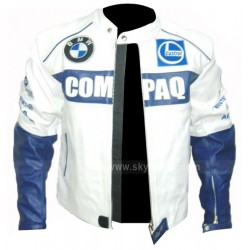 BMW Compaq Blue & White Racing Motorcycle Leather Jacket