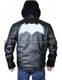 Batman Logo Quilted Shoulders Biker Black Leather Hooded Jacket