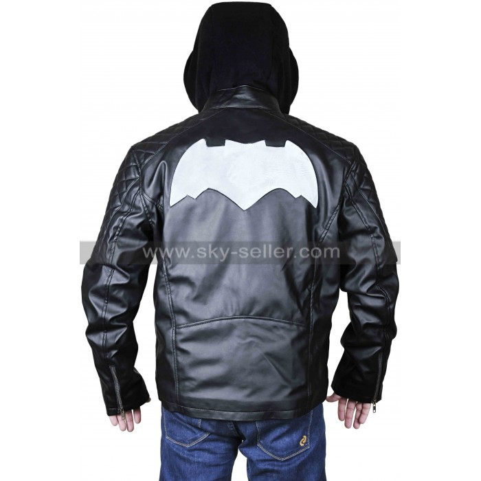 Batman Logo Quilted Shoulders Biker Black Leather Hooded Jacket