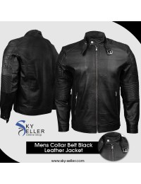 Belted Collar Ribbed Arm Quilted Shoulder Black Motorcycle Jacket