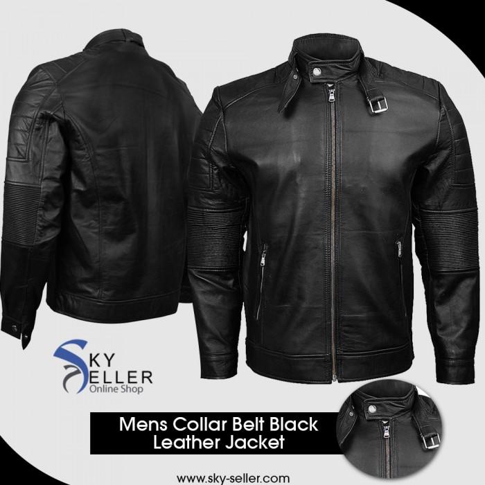 Belted Collar Ribbed Arm Quilted Shoulder Black Motorcycle Jacket
