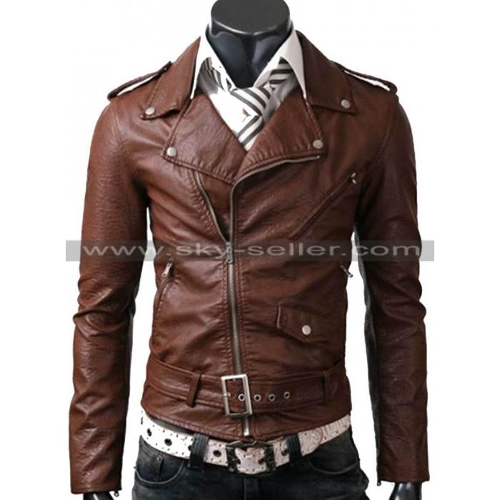 Belted Rider Brown Slimfit Motorcycle Leather Jacket