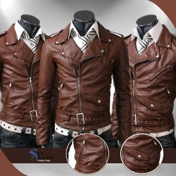 Belted Rider Brown Slimfit Motorcycle Leather Jacket