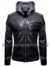 Batman Logo Motorcycle Brando Biker Leather Hoodie Jacket
