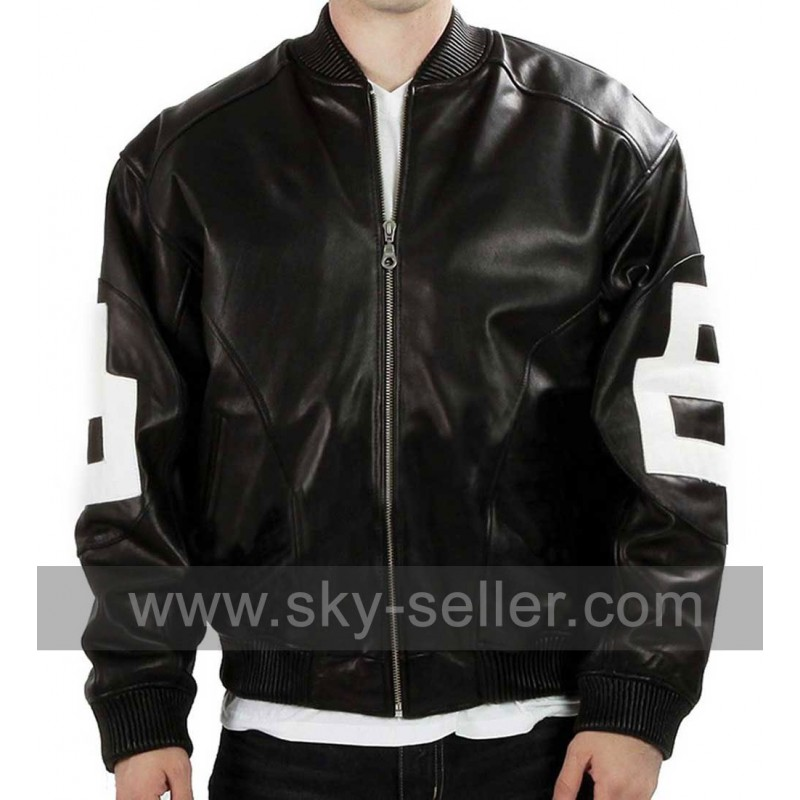 05f238fa9 Black 8 Ball Mens Bomber Leather Jacket