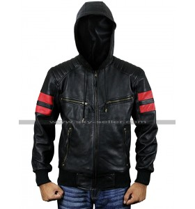 Mens Retro Bomber Biker Red Stripes Aviatrix Hooded Black Leather Jacket