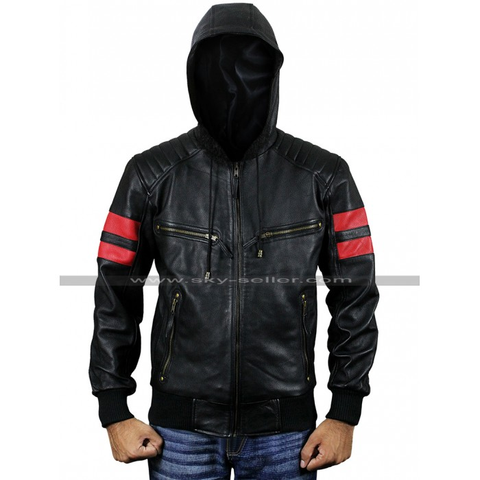 Mens Retro Bomber Biker Red Stripes Aviatrix Hooded Black Leather Jacket