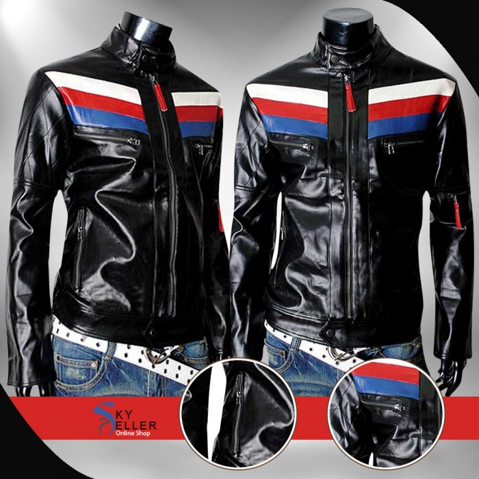 Casual Black Slimfit Biker Leather Jacket