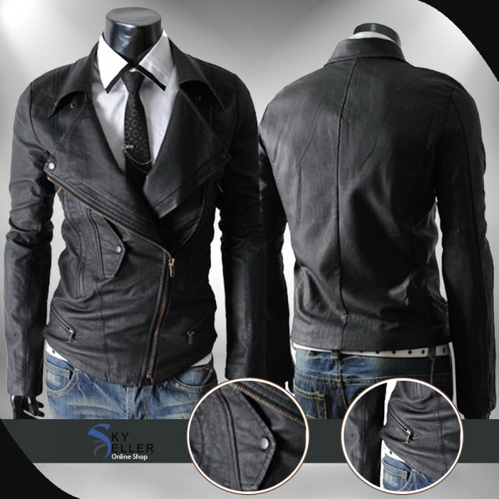 Slim Fit Multi Pockets Black Rider Leather Jacket