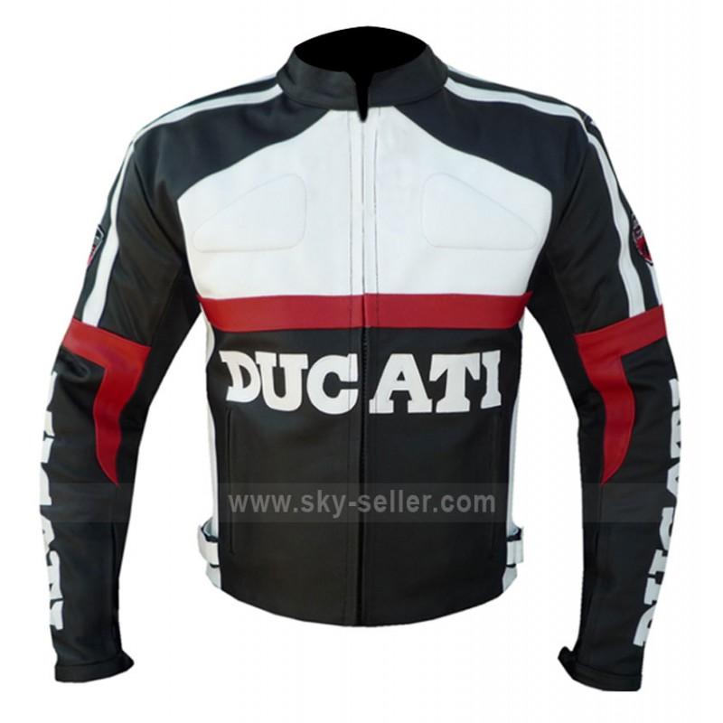black and white ducati corse biker leather jacket