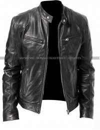 Vintage Cafe Racer Black & Brown Biker Genuine Leather Jacket