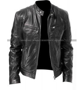 Vintage Cafe Racer Black & Brown Biker Genuine Leather Jacket