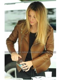 Blake Lively Brown Motorcycle Leather Jacket